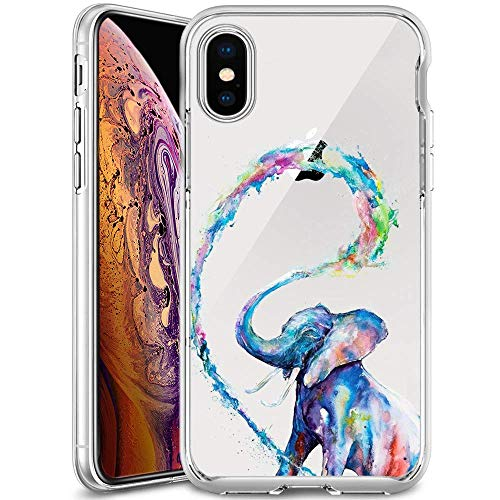 Price comparison product image MERVELLE Clear Phone Case Compatible iPhone Xs Max Customized Elephant Artist Design TPU Clear Shock-Proof Protective Case [Ultra Slim,  Anti-Slippery]