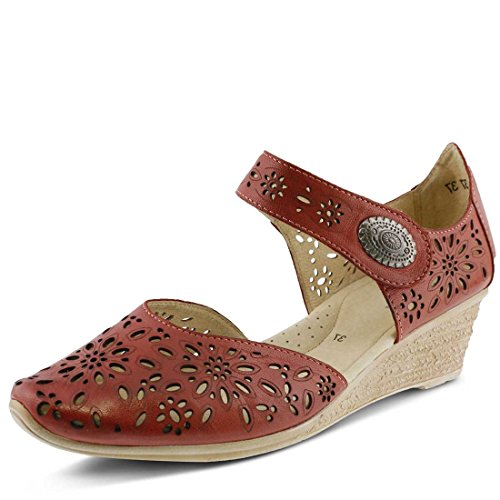 Spring Step Womens Nougat Red Leather Clog - - Dorsay Heel Metal Pump