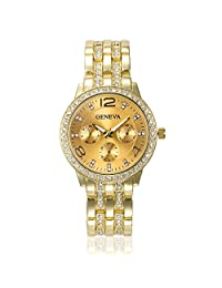 GENEVA Women's Luxury Elegant Rhinestone Crystal Alloy Case Dress Analog Quartz Watches-Gold Tone