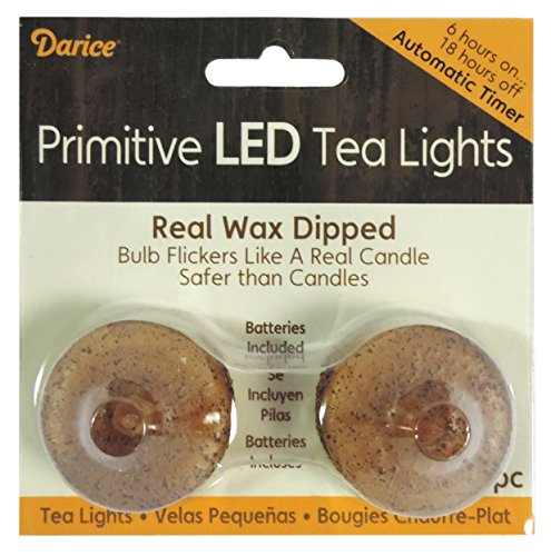 DARICE Primitive Wax Dipped LED Tea Lights with Timer, Iv...