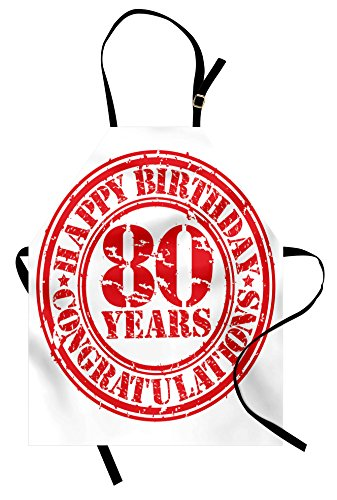 Ambesonne 80th Birthday Apron, Happy Birthday Print Retro Grunge Stamp Icon for 80 Years Old Image Print, Unisex Kitchen Bib Apron with Adjustable Neck for Cooking Baking Gardening, White -