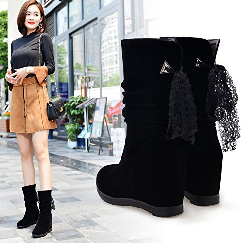 KHSKX-Short Boots New Round All-Match Bow In Korean Students Increased Martin Boots Female Boots Scrub With Cashmere Black HDjMePj