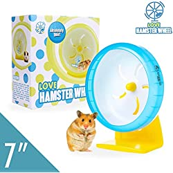 """Hamster Wheel 7"""" Pet Noiseless Spinners Comfort Exercise Wheel Large and Easy Attach to Wire Cage for Small Pet <3.5 Oz Sugar Glider Hamster Mice Hedgehog Gerbil - Premium PP Material"""