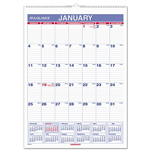 "AT-A-GLANCE Wall Calendar 2017, Monthly, 8 x 11"", Mini-Size, Ruled, Wirebound (PM1-28) Pack of 2"