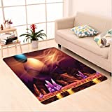Nalahome Custom carpet or Fantasy Spot with Golden River in Mars with Nebula and Other Planets Solar Zodiac Theme Multi area rugs for Living Dining Room Bedroom Hallway Office Carpet (36''x118'')