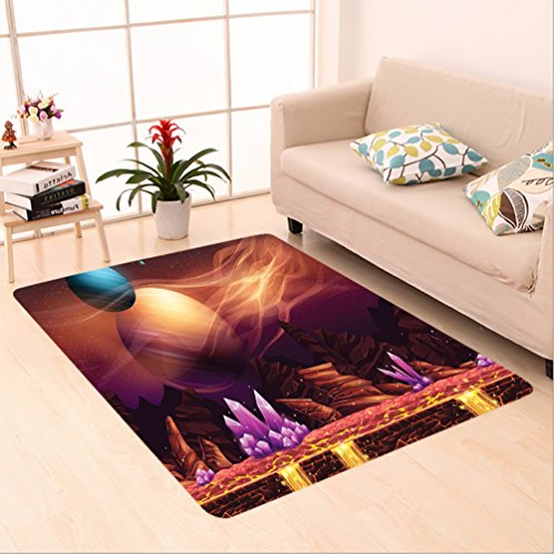 Nalahome Custom carpet or Fantasy Spot with Golden River in Mars with Nebula and Other Planets Solar Zodiac Theme Multi area rugs for Living Dining Room Bedroom Hallway Office Carpet (36''x118'') by Nalahome