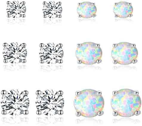 6606a4152 GEMSME Green White and File Opal 6mm Round Stud Earrings Pack of 3 PCS