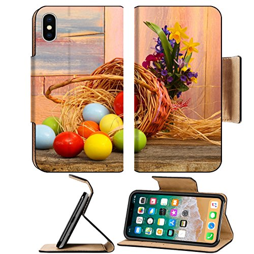 Luxlady Premium Apple iPhone X Flip Pu Leather Wallet Case IMAGE ID: 27045499 Happy easter text with painted eggs flowers wicker basket old background copy space (Basket Bugs Wicker)