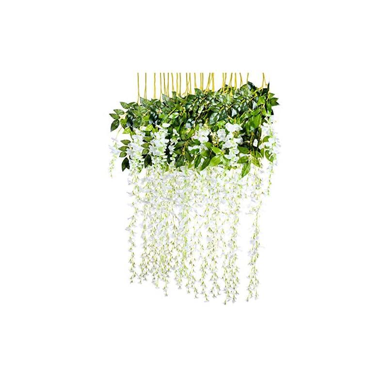 silk flower arrangements 3.6 feet artificial flower silk wisteria vine rattan fake wisteria garland hanging flowers for home garden party wall wedding decor,6 pieces (white 2)