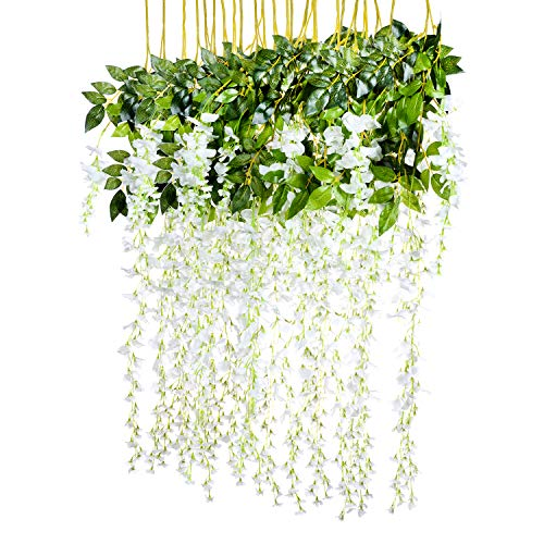 (3.6 Feet Artificial flower Silk Wisteria Vine Rattan Fake Wisteria Garland Hanging Flowers for Home Garden Party Wall Wedding Decor,6 Pieces (WHITE 2))