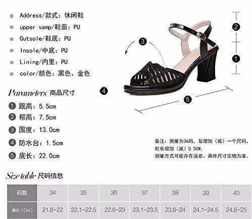 I E Le Le Estate Bottone HBDLH Scarpe Dita I 6Cm Scarpe Medio Con Spesso Diamond Sandali Tacchi Dei Piedi Aperto Tacchi black Alti PO0OUp