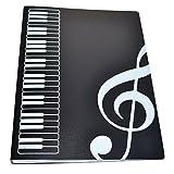 Music Themed Folder Music folder storage Holder,A4 Size Folder,40 Pockets,Treble Clef Folder (Black)