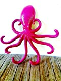Magenta pink purple cast iron Octopus jewelry multi hook - keys hook – organizer –wall art