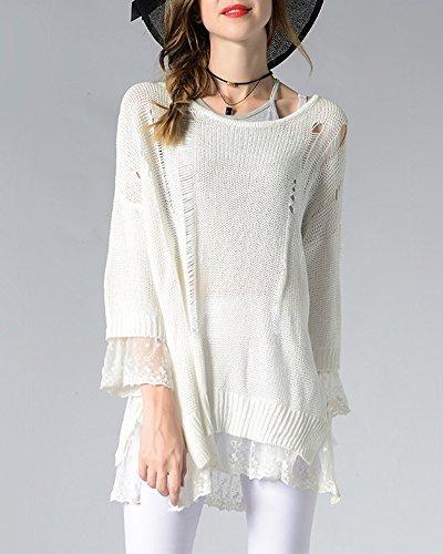 Mujeres Sudaderas Con Capucha Suéter Jersey de Manga Larga Alta Cuello Pullover Blanco