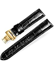 EHHE ZPF Quick Release Alligator Grain Leather Replacement Watch Bands with Gold Deployment Buckle for Men and...