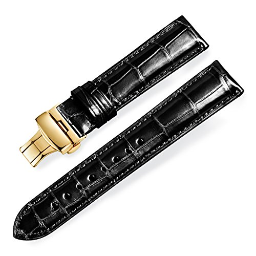 Black Genuine Alligator (Quick Release Alligator Grain Leather Replacement Watch Bands with Gold Deployment Buckle for Men and Women 18mm/19mm/20mm/21mm/22mm/23mm/24mm)