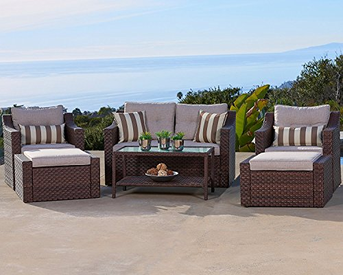 Solaura Outdoor 6-Piece Lounge Chairs with Ottoman & Loveseat All Weather Brown Wicker with Light Brown Waterproof Cushions & Sophisticated Glass Coffee Table | Patio, Backyard, Pool