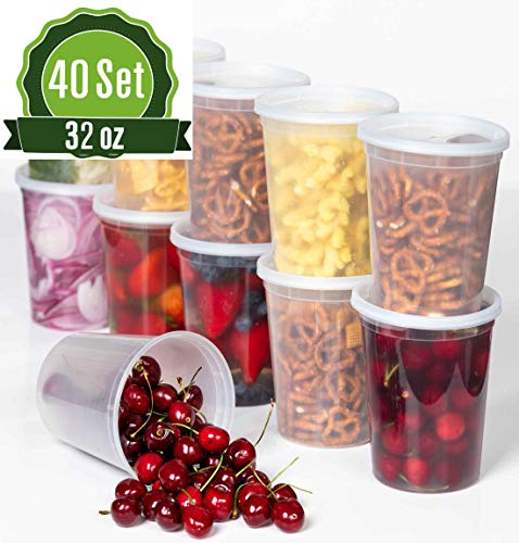 Deli Plastic Food Storage Containers with Airtight Lids [40 Sets] - Container Combo Pack Food