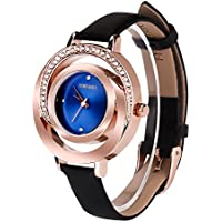 AIKURIO Women Ladies Wrist Watch Waterproof Design with Alloy Case Leather Strap and Japanese Movement (Black Band&Blue Case)