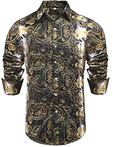 Daupanzees Mens Paisley Long Sleeve Cotton Luxury Design Shows Skinny Hawaiian Tropical Party Daily Life Allover Print Dress Shirt (Gold S) (Western Show Shirts Men)