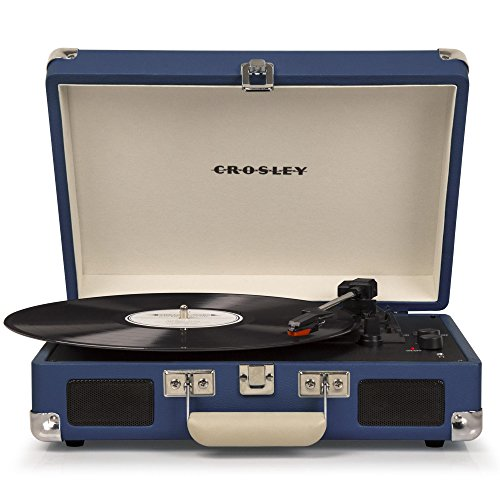 Crosley CR8005D-BL Cruiser Deluxe Portable 3-Speed Turntable with Bluetooth, Blue