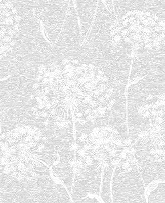 Advantage 2811-24575 Carolyn Light Grey Dandelion Wallpaper Gray