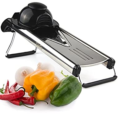 Chef's Inspirations - Premium V-Blade Stainless Steel Mandoline Food Slicer Cutter. Includes 5 Different Inserts. Free Cleaning Brush.