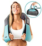 Shiatsu Back Shoulder and Neck Massager with Heat - Deep Tissue 3D Kneading Pillow Massager for Neck, Back, Shoulders, Foot, Legs - Electric Full Body Massage, Relieve Muscle Pain - Home & car (Blue)