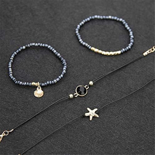 (Nivalkid Fashion Bracelet Five-Piece Diamond-Studded Geometric Leaves Moon Jewelry Female Expressing Love, Mother's Surprise Birthday Present)