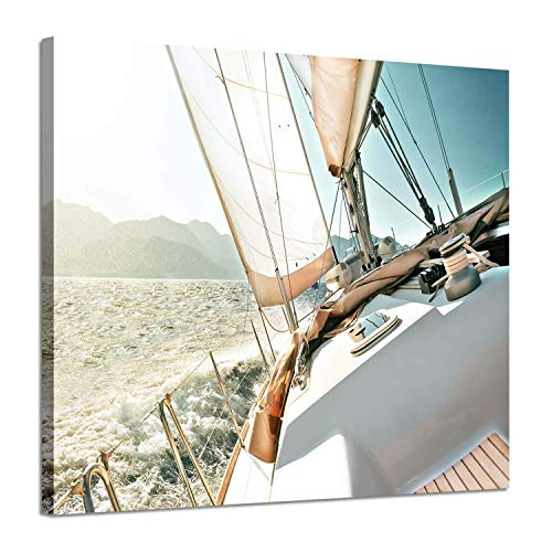 Sailboats Pictures Seascape Arts Paintings: Yacht Against The Roaring Waves of The Ocean at Sunrise, Nautical & Sea Artwork Printed on Wrapped Canvas for Wall Decoration(24