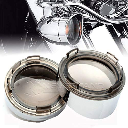 NEVERLAND 2 inches Chrome Visor-Style Turn Signal Bezels With Smoke Lens For Dyna Street Glide Road Softail Custom Cruiser