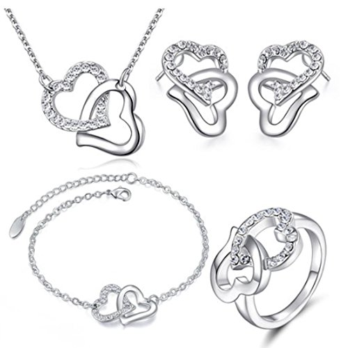 MAFMO Fashion White Rhinestone Double Heart Jewelry Set 4pcs Necklace Bracelet Ring Earrings ()
