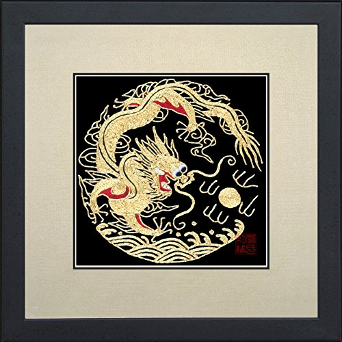 - King Silk Art 100% Handmade Embroidery Framed Golden Dragon Oriental Wall Hanging Art Asian Decoration Tapestry Artwork Picture Gifts 34015WFB1
