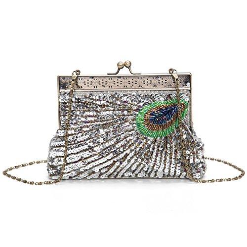 Lifewish Bolso nupcial de lujo de los cequis de lujo de las mujeres que iguala el bolso nupcial del totalizador del embrague del baile de fin de curso del bolso Plateado