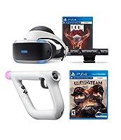 Playstation 4 Doom VFR and Bravo Team PSVR Aim Controller Enhanced Bundle: Playstation 4 VR Headset, PSVR Camera, Wireless Aim Controller, Doom VFR and Bravo Team