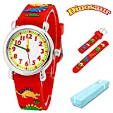 Vinmori Kid's Watch, with 3D Cartoon Dinosaur Silicone Band Waterproof Quartz Watch Gift for Children (Red)
