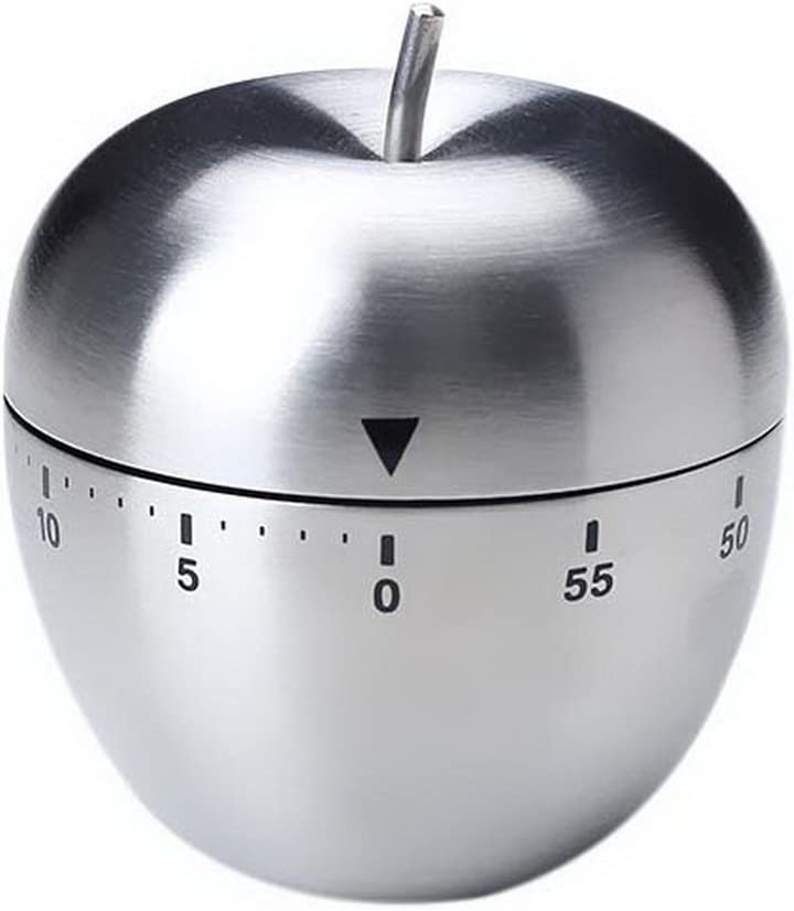 Small Alarm Clock, 60 Minute Stainless Steel Apple Shaped Kitchen Timer Reminder