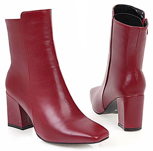 Aisun Womens Simple Chic In Zip Up Vierkante Teen Slofjes Blok Mid-heels Enkellaarsjes Met Rits Rood