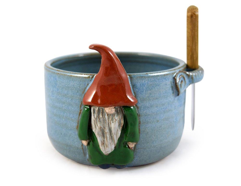 American Made Stoneware Pottery Dip Bowl with Spreader, Garden Gnome Motif