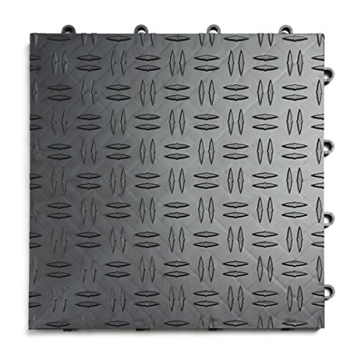 Modular Floor - GarageTrac Diamond, Durable Interlocking Modular Garage Flooring Tile (48 Pack), Graphite