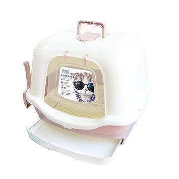 DSHBB Caja de Arena para Gatos, Bandeja de Basura para Gatos de Estilo Cerrado, Bandeja para desechos de Gatos para Control de olores (Color : Beige): ...