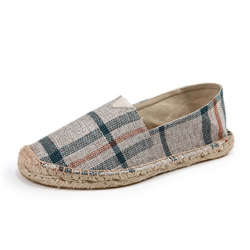 SHELAIDON Straw Shoes And Linen Men's Canvas Espadrilles Hemp Women Slip-on Loafers Flats linenred sIxAUgy
