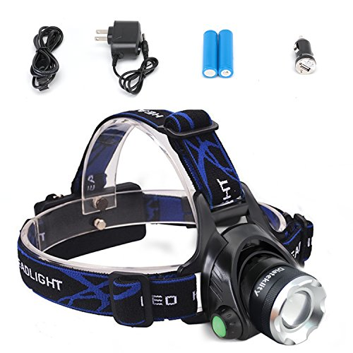 Diateklity Super Bright LED Headlamp Headlight Flashlight Zoomable 3 Modes, XM-L CREE T6 LED 1000 Lumens,...