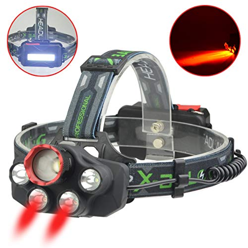 X-BALOG Headlamp with Red Lighting LED Headlight 5 Modes, headlamp Hands-free Flashlight USB Rechargeable, Waterproof Head Light Lamp Torch for Camping Fishing Hiking Night Activities