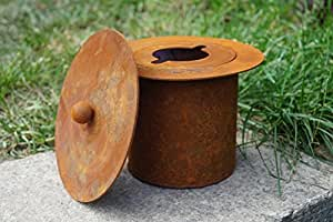 oxidado Fuego–Olla con tapa D15cm ilumina metal jardín decoración
