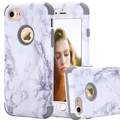 iPhone 7 Case Marble Creative Design BAISRKE Heavy Duty Shockproof Hybrid Dual Layer Protective Case Cover for Apple iPhone 7 4.7 inch (Gray Hybrid)