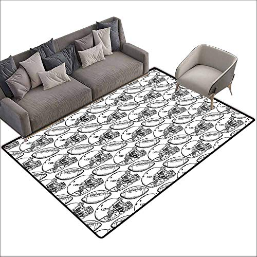 Door Rug for Internal Anti-Slip Rug Football American Football Symbols in Symmetrical Order Championship Match Competition Easy to Clean Carpet W6' x L8'10 Black White ()