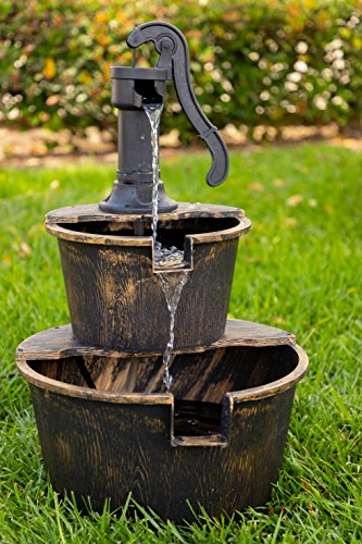 Alpine Corporation TIZ194BZ Alpine 2-Tier Rustic Pump Barrel Waterfall for Garden, Patio, Deck, Porch-Yard Art Decor Outdoor Water Fountain, Gray - BARREL FOUNTAIN: Garden water fountain is the perfect addition to your outdoor decor. Interior pump keeps the water flowing - just plug it in! RELAXING WATER FLOW: Water trickles from the pump spout into the barrel tiers, adding peaceful ambiance to your outdoor setting RUSTIC LOOK: Realistic faux wood barrels and pump head design for an old-fashioned western feel - patio, outdoor-decor, fountains - 51mD9YBzGzL -