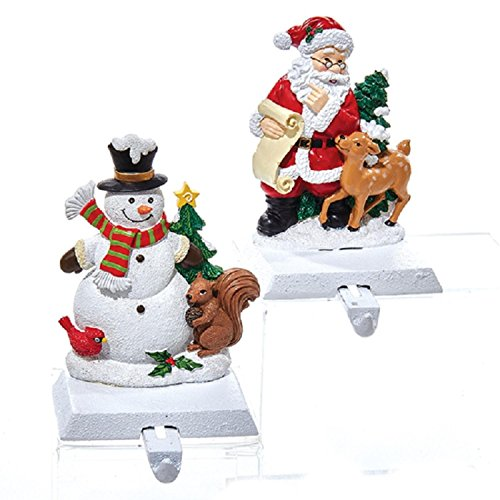 Pack of 4 Winter Snowman and Santa Claus with Reindeer Christmas Stocking Holders 6'' by KSA