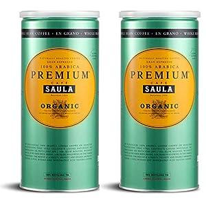 Café Saula grano, Pack 2 botes de 500 gr. Premium Ecológico 100% arábica 51mD9efsrlL